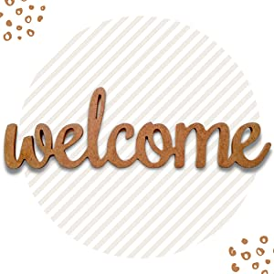 Makrosh Welcome Wood Sign Home Wall Decorations Welcome Word Art Wood Cutout Wall Art Unfinished Wooden Letters 12