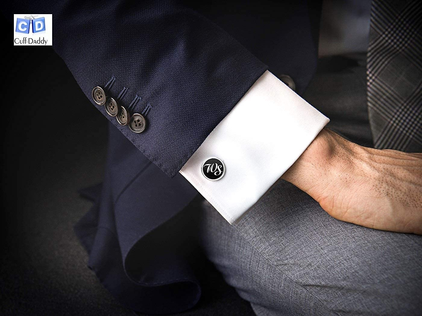 Black Masonic Compass & Set Gold Cufflinks with Presentation Box