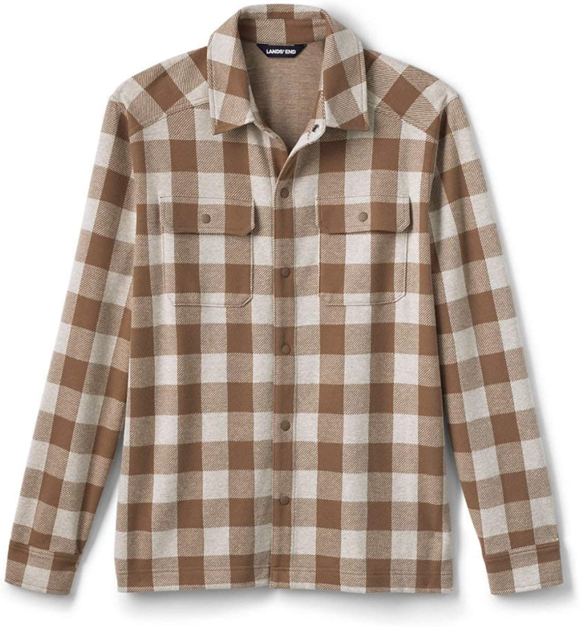 Lands' End Men's Long Sleeve Textured Cozy Shirt Jacket