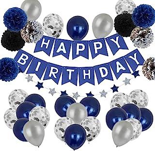 Suministros de Decoración Plata Azul Para Fiestas de Feliz Cumpleaños, Guirnalda de Estrellas, Pompones Tricolores, Remoli...