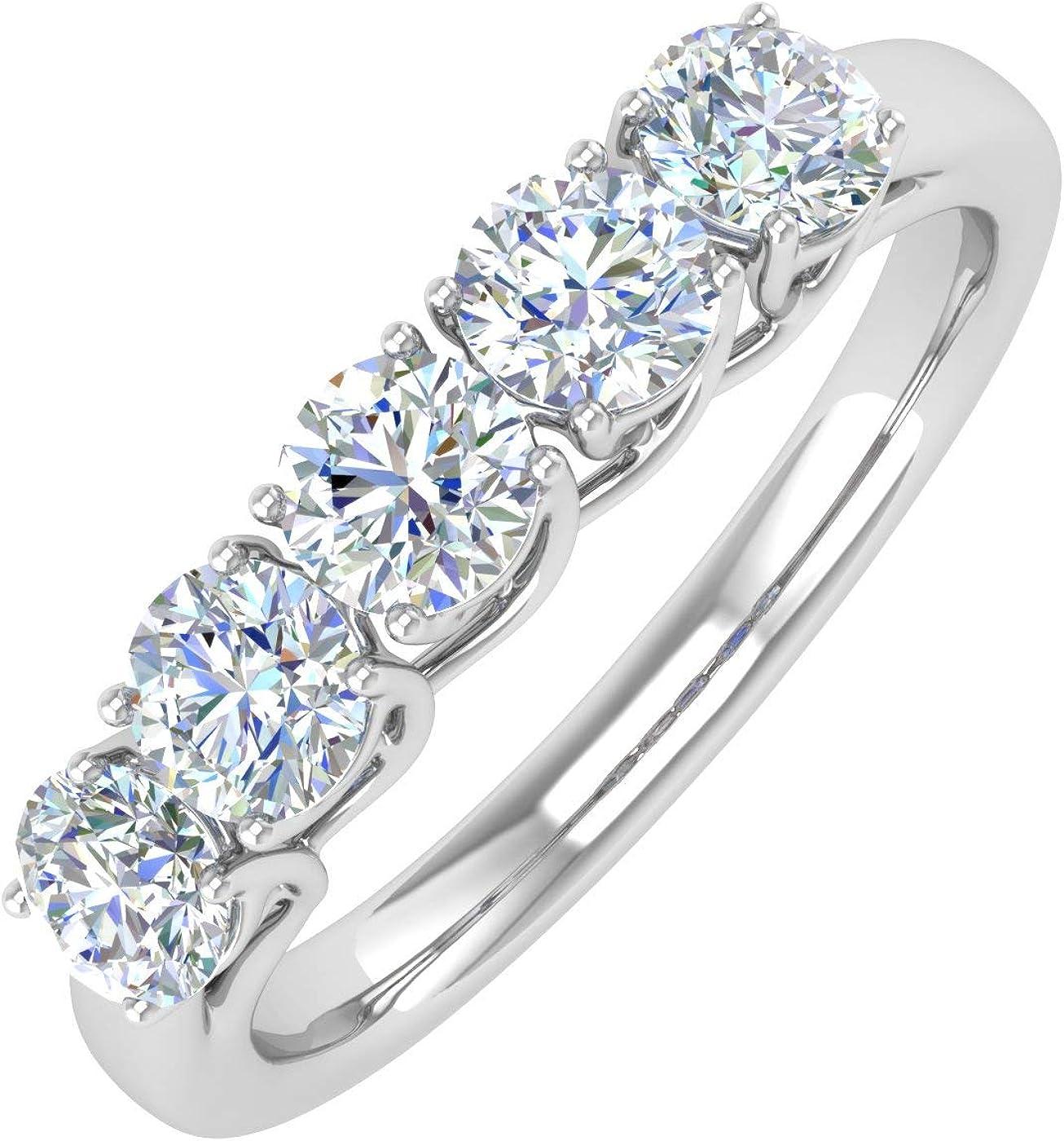 1 Carat 5-Stone Diamond Wedding Band Ring in 14K Gold