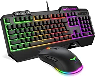 Havit Keyboard Rainbow Backlit Wired Gaming Keyboard Mouse Combo, LED 104 Keys USB Ergonomic Wrist Rest Keyboard, 4800DPI ...