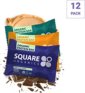 Square Organics Vegan Protein Bars - Nut Butter Chocolate Coated Combo - 10g to 13g Protein - Protein Bars are Gluten Free, Dairy Free, Soy Free, Non-GMO - Perfect Bar for Plant Based Diet - 12 Pack