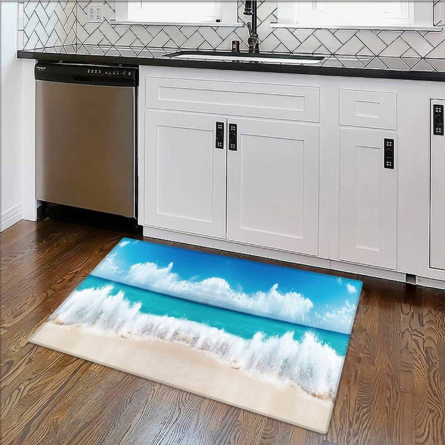 Printed Floor mat The sea Coast in a Panoramic for Home and Office W39 x H20