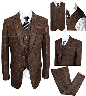 Classic Vintage Brown Tweed Herringbone Wool Blend Men Suit 3 Pieces Check Plaid Dark Green Striped Blazer