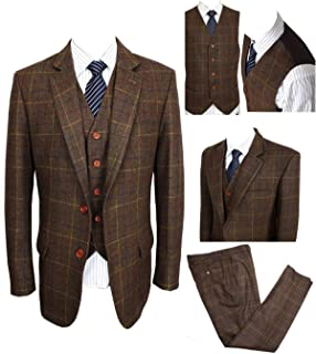 Classic Vintage Brown Tweed Herringbone Wool Blend Men Suit 3 Pieces Check Plaid Dark Green Striped Blazer