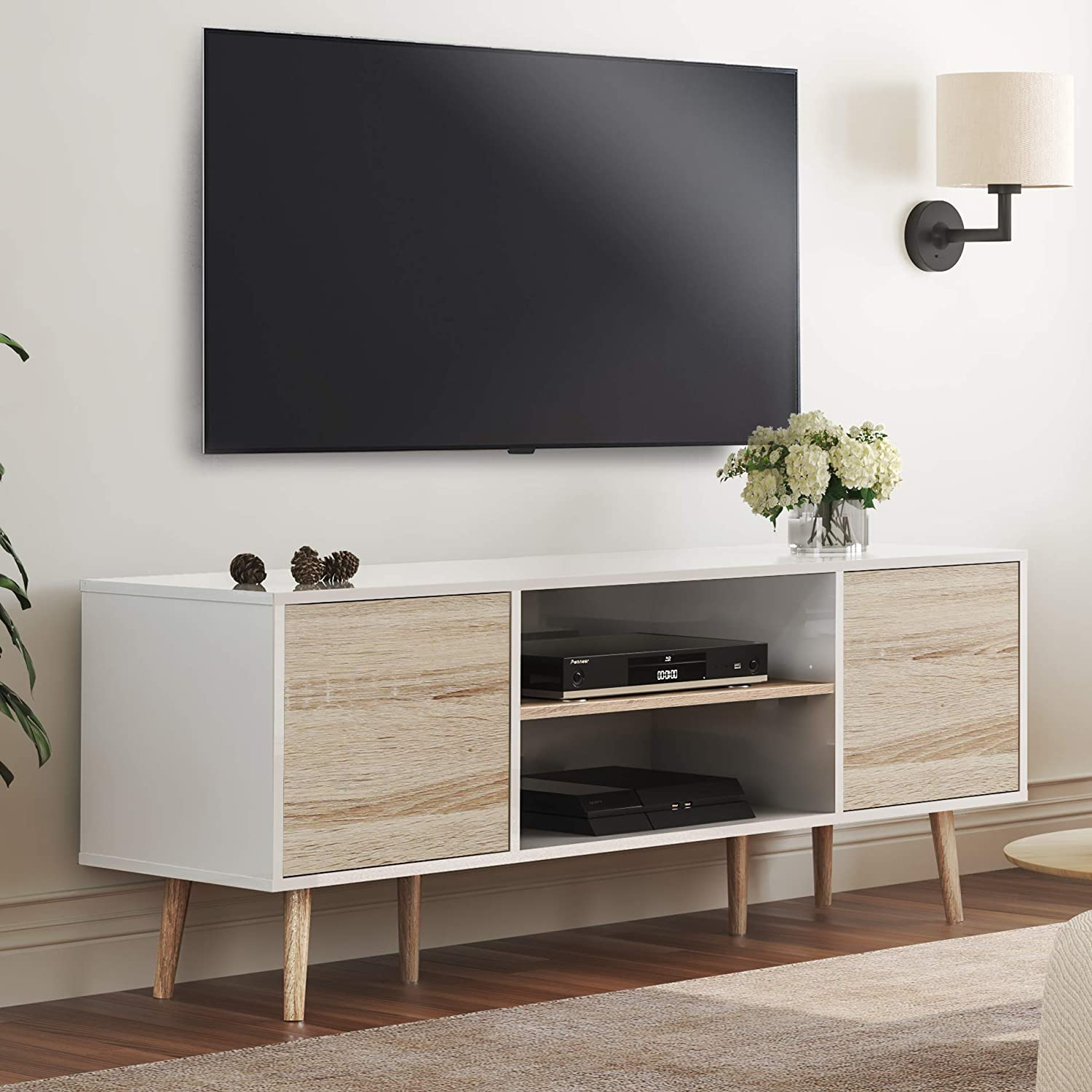 WAMPAT Mid-Century Modern TV Stands for TVs up to 60 '' Flat Screen, Wood Media Console Table with Doors Home Entertainment Center for Living Room, White/Oak