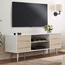 WAMPAT Mid-Century Modern TV Stand for TVs up to 60 '' Flat Screen, Wood TV Console Cabinet with Storage Shelf, Home Enter...