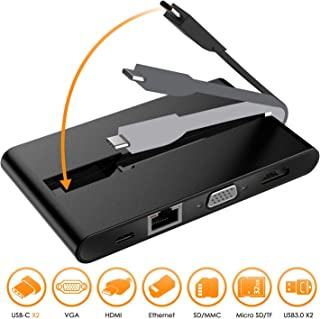 USB C ハブ, JYDMIX 9 IN 1 USB C VGA HDMI 変換アダプタ-高解像度出力/大画面/簡単接続, 100W PD充電機能 USB3.0ポート5Gbps 高速転送, 1000Mbps有線LAN, USB C SD/TFカード カードリーダー 端子不足を解消MacBook/MacBook Pro/Dell XPS/Google Chromebook/HP Spectre対応