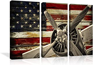AMEMNY Vintage American US USA Flag Fighter Bomber Head Propelle Canvas Wall Art Prints Retro Warplanes 3 Panels Home Decor Pictures Poster Military Aircraft Painting Framed Ready to Hang