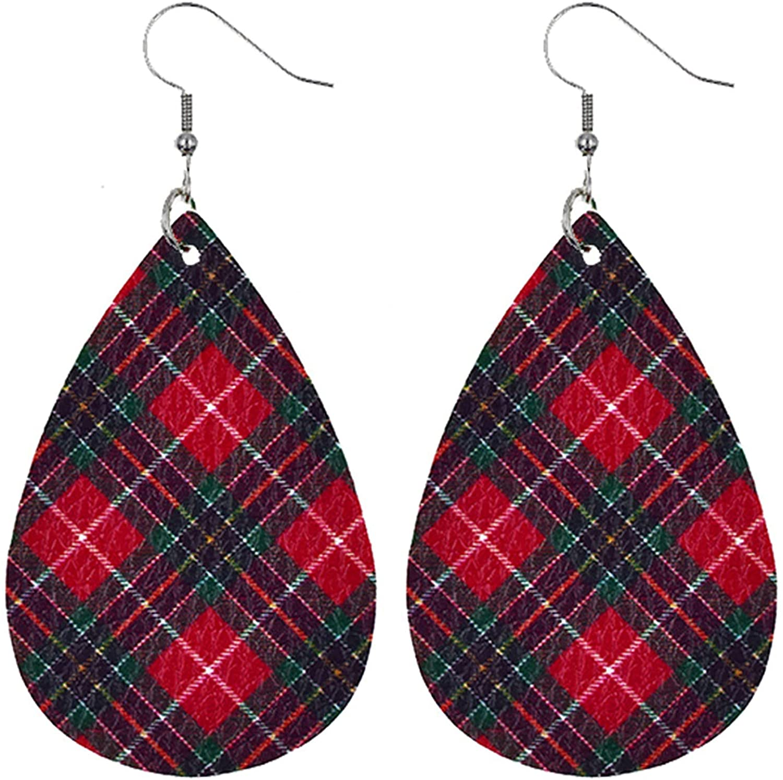 Nopeak Halloween Teardrop Dangle Earrings Thanksgiving Fall Christmas Leather Teardrop Dangle Earrings for Women Girls