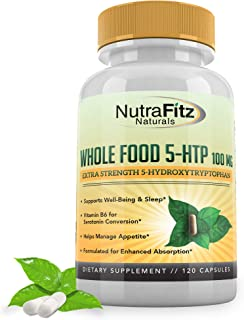 5HTP 100mg Supplement, Plus B6, 5 HTP Organic Whole Food - Natural Sleep Aid, Mood Support, Anxiety Relief, Calm, Appetite...