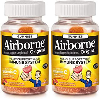 Airborne Assorted Fruit Flavored Gummies,1000mg of Vitamin C and Minerals & Herbs Immune Support 42 ct (Pack of 2)