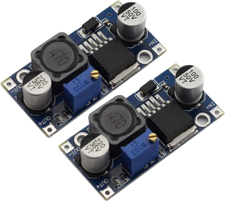 Maxmoral 2pcs DC-DC Buck Converter Power Module 3A Adjustable Step-Down LM2596 Voltage Regulator 24V to 12V 5V 3V