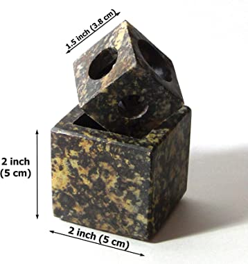 India Arts Soapstone Candle Holder - Multi Size, Hand Crafted, Natural Stone