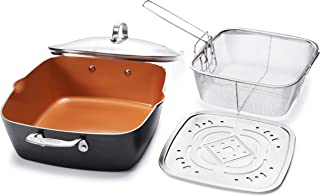 Gotham Steel - 6 Quart XL Nonstick Copper Deep Square All in One 6 Qt Casserole Chef's Pan & Stock Pot- 4 Piece Set, Includes Frying Basket and Steamer Tray, Dishwasher Safe