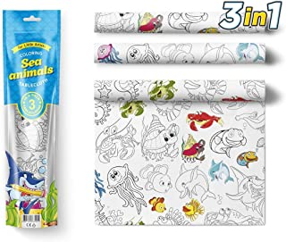 Large Coloring Tablecloth Water Resistant Poster for Kids and Toddlers Colorable Frame «Marine Life» 3 in 1 Fun Painting Activity for Party and Decor Table Doodle Board