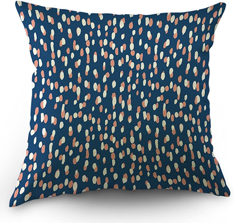 Moslion Polka Dots Pillow Decorative Throw Pillow Cover Case Raindrops Pink White Dot Spots Pillow Case 18 X 18 Inch Cotton Linen Square Cushion Cover Happy New Year For Sofa Bed Navy Blue