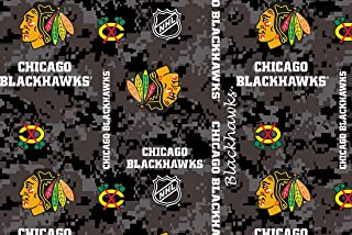 Chicago Blackhawks Super Soft Fleece Fabric with Digital Camo Pattern-Sold by The Yard