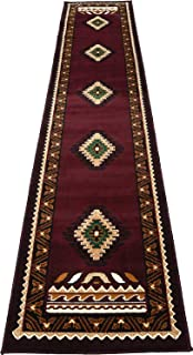 Rugs 4 Less Collection Southwest Native American Indian Runner Area Rug Design R4L 143 Burgundy / Maroon (2'x7')
