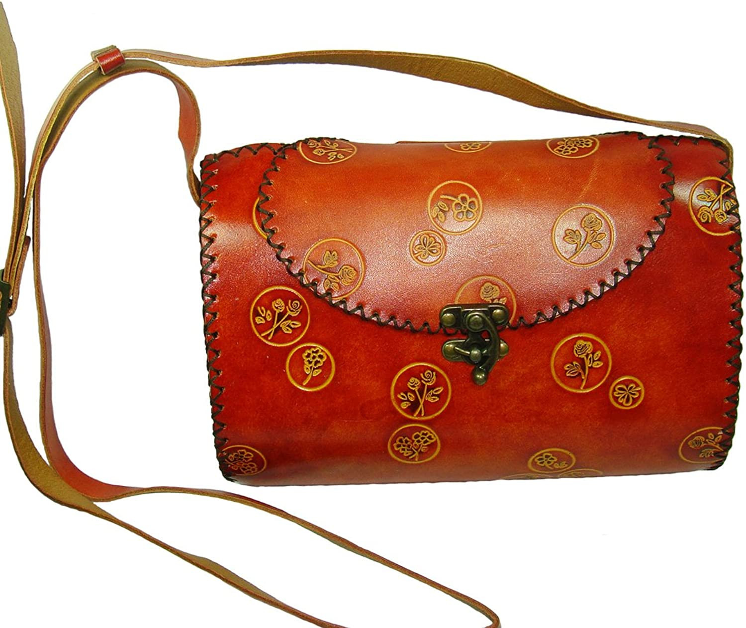 Genuine Leather Shoulder Bag,an Oval Shape Design,Beautiful and Unique,Brown.