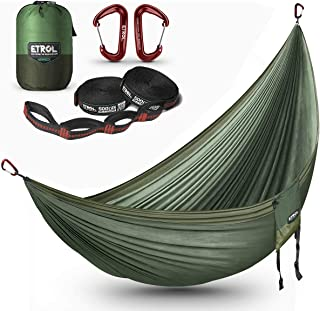 ETROL Hammock Camping Double Lightweight Parachute Portable Hammocks for Travel, Indoor, Outdoor Backpacking, Beach Includ...
