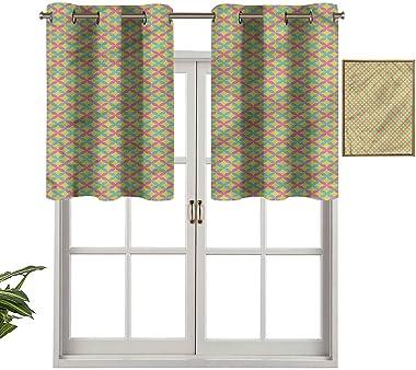 Hiiiman Paire de rideaux courts bloquant la lumière dans la prairie de printemps, 127 x 45,7 cm, rideau de fenêtre pour le sa