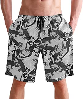 Beach Shorts, Lizard Animal Printed Mens Trunks Swim Short Quick Dry with Pockets for Summer Surfing Boardshorts Outdoor W...