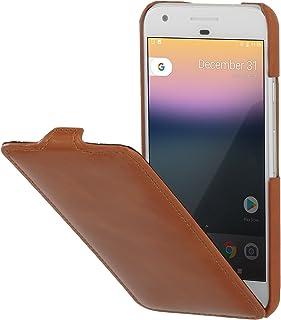 StilGut UltraSlim Case Funda de Piel auténtica, Flip Case con función Smart Cover para su Google Pixel. Cover Extremadamente Delgada con Abertura Vertical de Cuero Genuino, Cognac