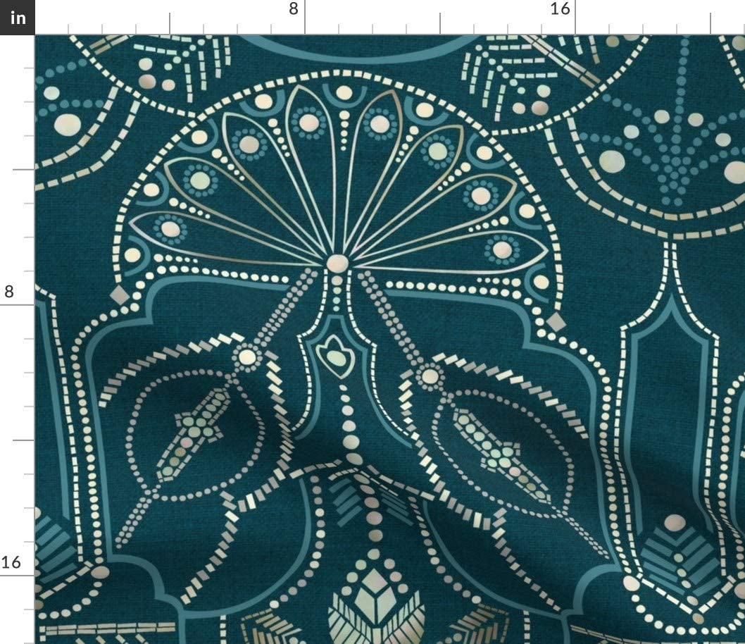 Spoonflower Fabric - Ornamental Deco Raleigh Popular standard Mall Upholstery Teal Printed on