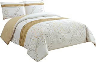 Chezmoi Collection Joy 3-Piece Ivory/Gold Tree Branches Embroidery Design Duvet Cover Set (King)