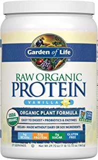 Garden of Life Raw Organic Protein Vanilla Powder, 27 Servings - Certified Vegan, Gluten Free, Organic, Non-GMO, Plant Based Sugar Free Protein Shake with Probiotics & Enzymes, 4g BCAAs, 22g Protein