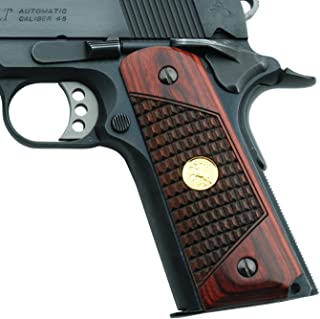 Altamont 1911 Grips - Crocback - Full Size 1911 Wood Grips w. Ambi Safety fits Most Commander, Standard & Government 1911 Models - Made in USA