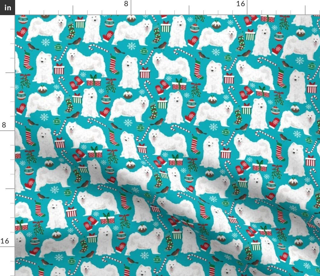 Spoonflower 完全送料無料 高品質新品 Fabric - Samoyed Christmas Pet Dogs Xmas Por Holiday