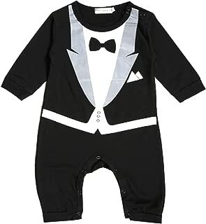 Fioukiay Newborn Baby Boys-Blazer-Tuxedo-Suits-Clothes 2pcs Long Sleeve Cotton Bodysuit and Pants Tie Gentleman Outfits Set