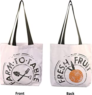 Reusable Grocery Bag Shopping Tote Extra Large Heavy Duty 12 oz Cotton Canvas Multi Purpose Durable & Machine Washable 20 inches x 15 inches Farm to Table Print - Proudly Made in the USA (Natural)