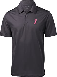 Breast Cancer Embroidered Pink Ribbon Pocket Print Textured Polo