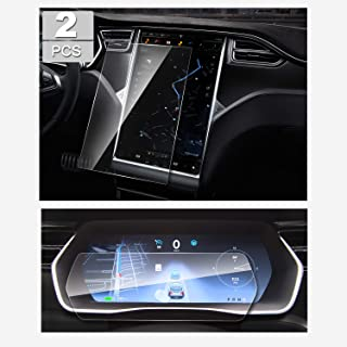 YEE PIN (2 Packs) Tempered Glass Screen Protector for Tesla Model X 75D 100D P100D 17 Inch Dedicated Central Information Screen and 12.3 Inch Instrument Panel Screen Film 2016-2018