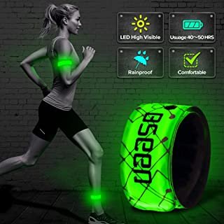 BSEEN LED Armband, 2ed Generation LED Slap Bracelets, Patented Heat Sealed Glow in The Dark Water/Sweat Resistant Glowing Sports Wristbands for Running, Cycling, Hiking, Jogging