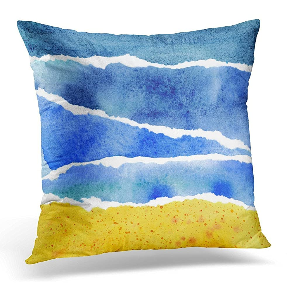 SPXUBZ Colorful Aquarelle Abstract Blue and Yellow Watercolor Hand of Beach Artistic Bright Decorative Home Decor Square Indoor/Outdoor Pillowcase Size: 18X18 Inch(Two Sides)