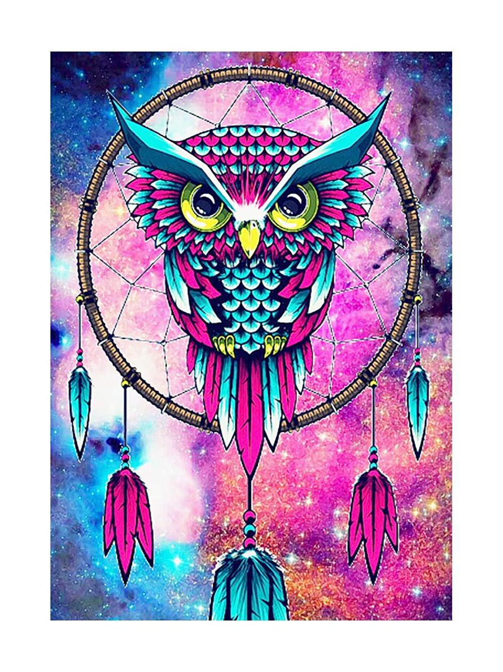 SuperDecor DIY 5D Diamond Painting Kits Full Drill Diamond Embroidery Painting Art Owl Dream Catcher by Number Kits for Home Wall Decor Rose and Blue