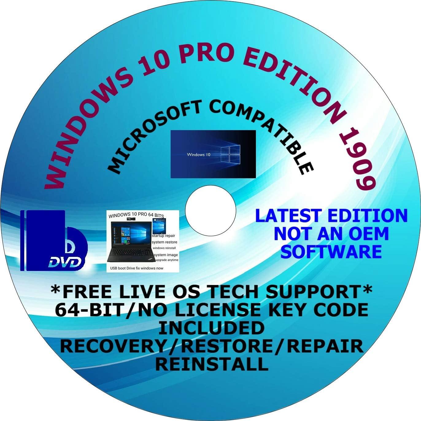 WINDOWS 10 PRO 64-BIT DVD DO-IT-YOURSELF REINSTALL Factory outlet PLUS FREE VID Ultra-Cheap Deals