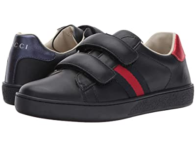 Gucci Kids New Ace V.L. Sneakers (Little Kid) (Anthracite/Blue) Kids Shoes