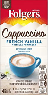 Folgers Cappuccino French Vanilla Instant Coffee Beverage Mix, 4 Single Serve Packets