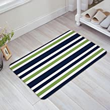 Indoor Doormat Stylish Welcome Mat Navy Blue Green and White Stripe Entrance Shoe Scrap Washable Apartment Office Floor Mats Front Doormats Non-Slip Bedroom Carpet Home Kitchen Rug 18