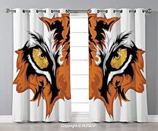 Grommet Blackout Window Curtains Drapes [ Eye,Tiger Eyes Graphic Mascot Animal Face Bengal Cat African Safari Predator Theme Decorative,Orange Yellow Black ] for Living Room Bedroom Dorm Room Classroo
