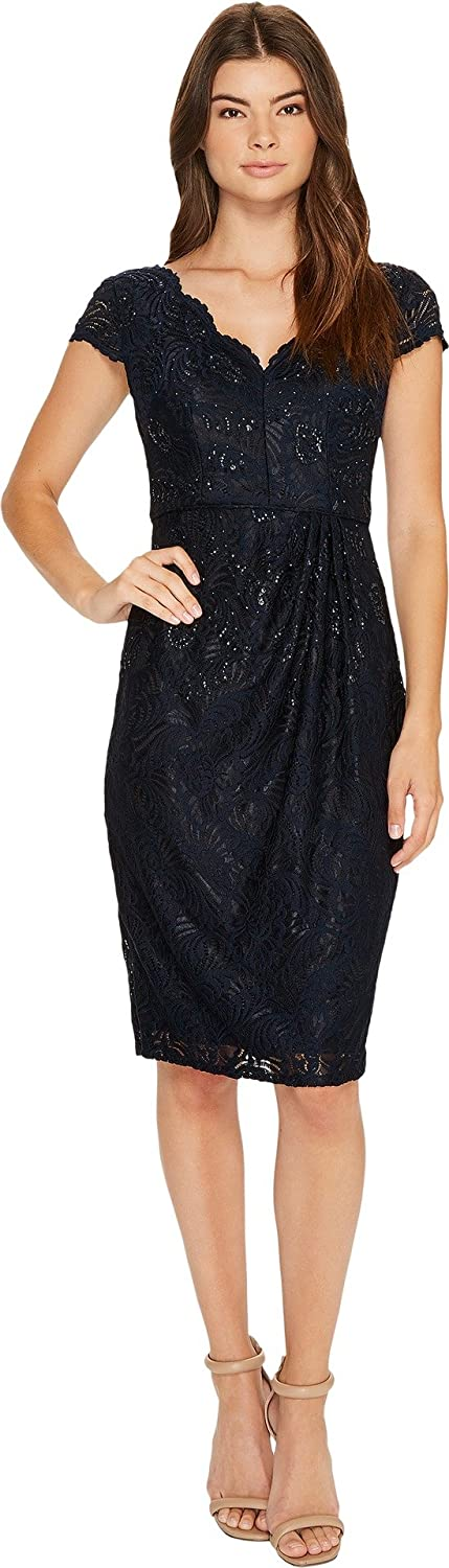 Adrianna Papell Womens Stretch Lace Scallop Short Dress