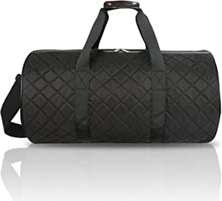 FITMYFAVO 20 inch Grid Black Sports Duffle | Gym Bag | Weekender | Made of Super Light Grid Pattern Padded Cotton | Perfect for Dance Class, Yoga, Overnight, Carry On & Short Trips