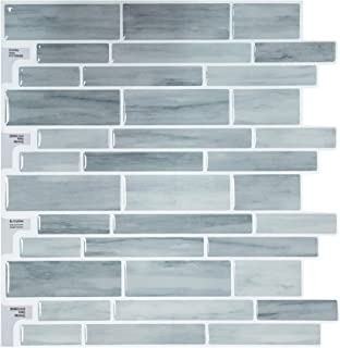 "Crystiles Peel and Stick DIY Backsplash Tile Stick-on Vinyl Wall Tile for Kitchen and Bathroom, Item #91010848, 10"" X 10"", 6 Sheets Pack"