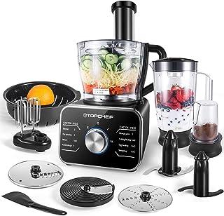 TopChef Procesador de Alimentos 1100W Procesador de Alimentos Compacto (con Accesorios incluidos: amasador, licuadora, exp...